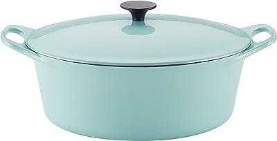 Rachael Ray 6.5-Qt. Covered Cast Iron Dutch Oven, Quart, Light Blue Shimmer