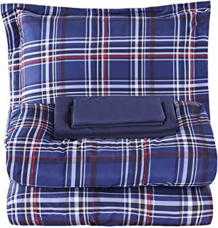 EMME 5-Piece Bed-in-A-Bag Bedding Comforter Set Luxurious Brushed Microfiber Goose Down Alternative Comforter Soft and Comfortable Machine Washable (Twin/Twin XL, Blue Plaid)