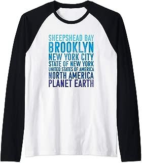 Sheepshead Bay Brooklyn NYC New York Planet Earth Raglan Baseball Tee