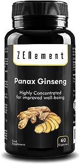 Panax Ginseng, altamente concentrado 2375mg,60 Cápsulas | Mejora la concentración, memoria y resistencia atlética | No GMO, 100% Natural | Zenement