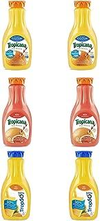 LUV BOX - Variety Tropicana Pure Premium Juice Pack 52oz Plastic Bottle, 6 Per Case Calcium Orange Juice , Red Grapefruit ,Trop 50 Orange Juice