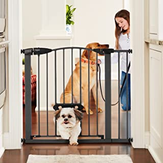 """MYPET North States 37.5"""" Wide Wide Deco EasyPass Pet Gate: Equipped with Adjustable Small pet Door. Hard to Climb Bars. Pr..."""