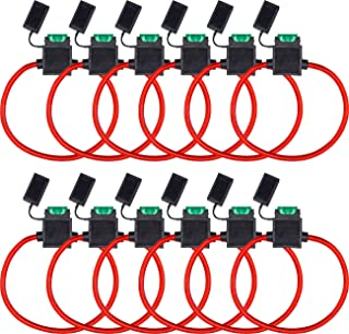 InstallGear ATC Fuse Holder with 30A Fuse, 10 Gauge OFC Power Wire (12 Pack)