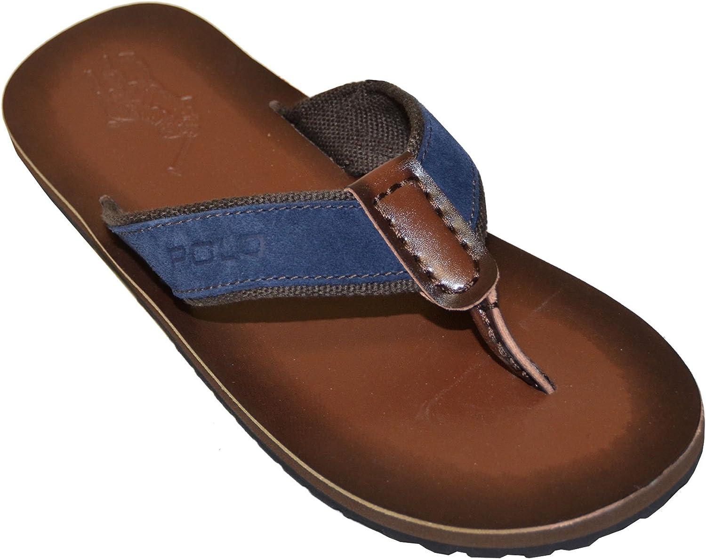 Ralph Lauren Polo Men's Seacroft Flip Flops Navy/Dark Brown