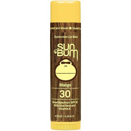 Sun Bum SPF 30 Sunscreen Lip Balm   Vegan and Cruelty Free Broad Spectrum UVA/UVB Lip Care with Aloe and Vitamin E for Moisturized Lips   Mango Flavor  .15 oz, 0.15-Ounce, Model:20-46026