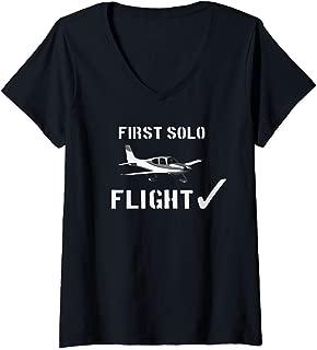 Womens First Solo Flight  T shirt New Pilot Gift V-Neck T-Shirt