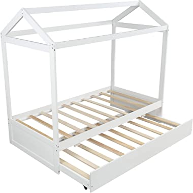 Twin Daybed with Trundle, Wood Twin Size House Bed/Toddler Bed/Floor Bed for Kids, Can Be Decorated, No Box Spring Required, Easy Assemble (White)