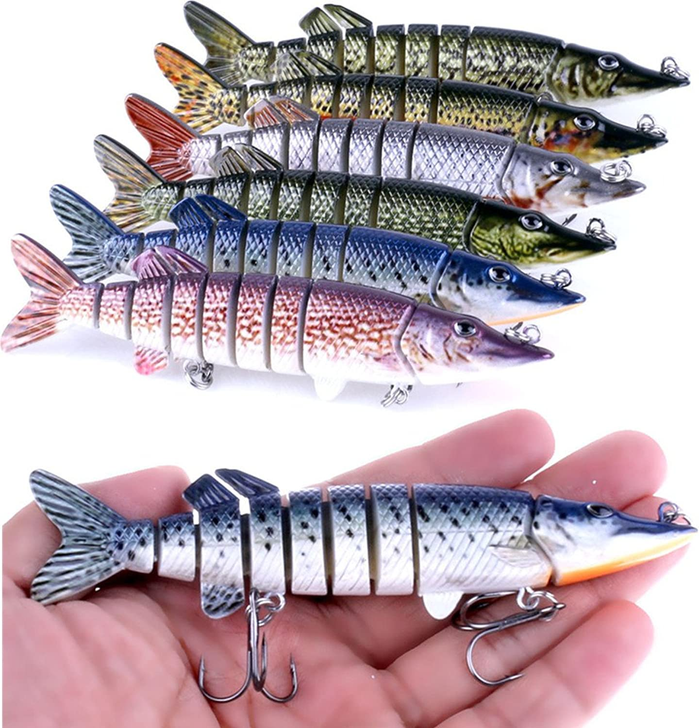 A-SZCXTOP Multi Jointed Fishing Lures Hard Baits Lifelike 9 Segments Swimbait Bass Crankbaits Perch Pike Walleye Trout Fishing Baits 6pcs