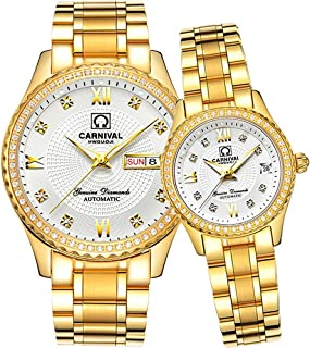 Men and Women Automatic Mechanical Watch Couple Sapphire Glass Watches Romantic for Her or His Gift Set 2
