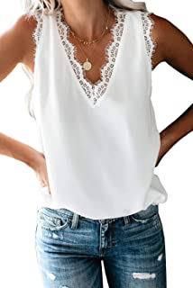 ANFTFH Womens V Neck Lace Tank Tops Casual Loose Sleeveless Solid Shirts Summer