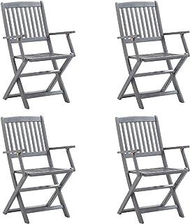 Festnight Set de 4 sillas Plegables con Cojines y Ajustable de Madera jardín Exterior Gris Antracita