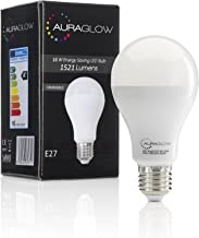 AURAGLOW Super Bright 16w LED E27 Screw Light Bulb, Cool White, 6500K -1521 Lumens - 100w EQV - Dimmable