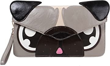 BMC Colorful Faux Leather Animal Face Thin Envelope Style Fashion Clutch Handbag