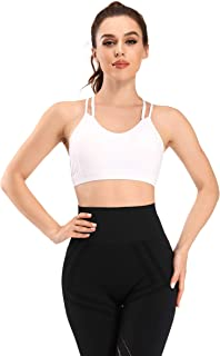 WOWENY Strappy Sports Bra for Women Medium Impact Longline Cross Back Yoga Bralette Padded Workout Running Fitness Bra top…