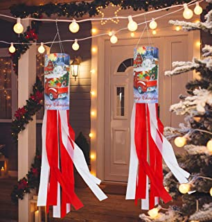 Amandir 2 Pack 40 Inch Christmas Decoration Windsock Flag, Outdoor Christmas Hanging Decorations Flag Christmas Banner for Front Door Porch Yard Garden Holiday Home Christmas Decor