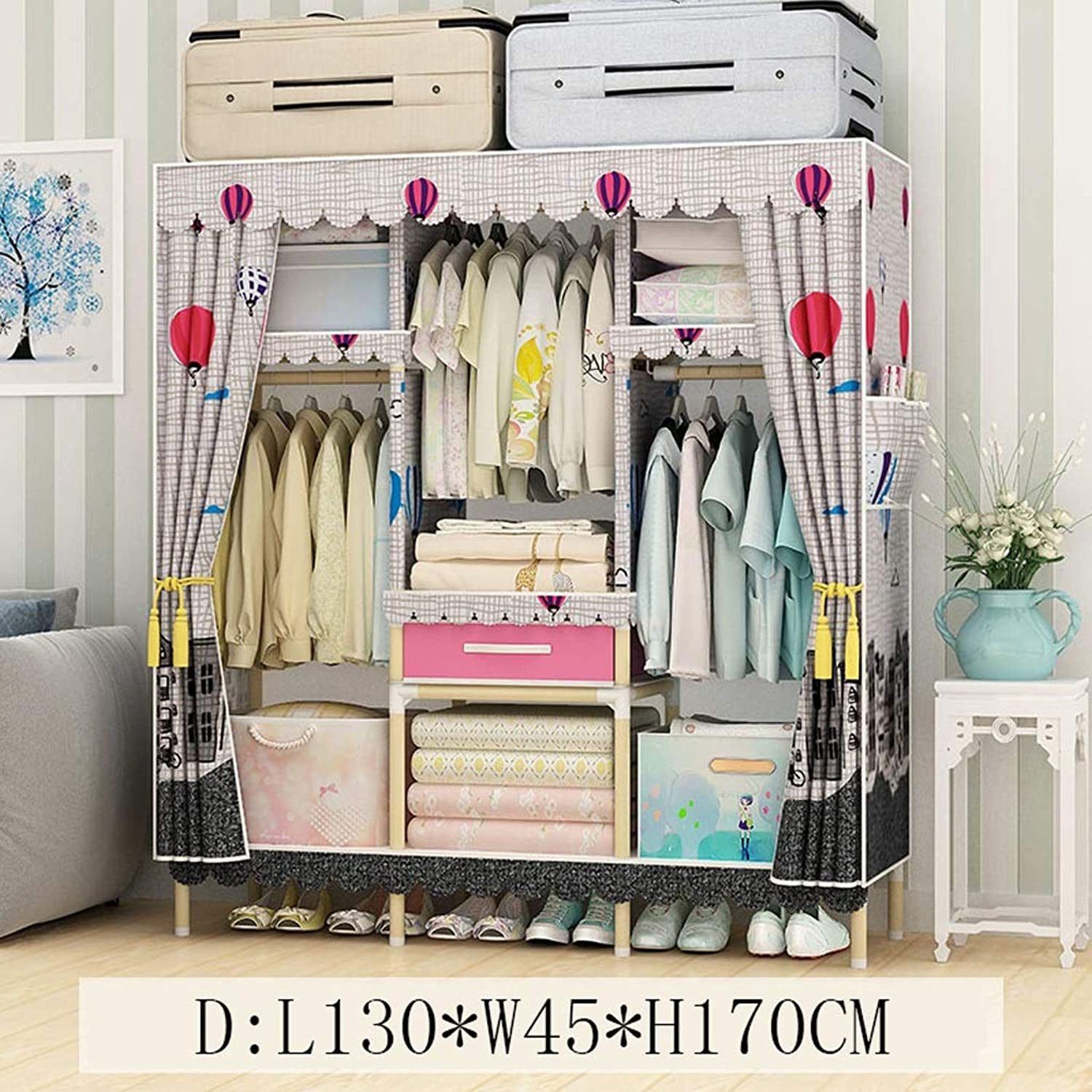 Clothes Closet Wardrobe Wardrobe Portable Clothes Closet Cupboard Combination Bedroom Furniture Storage 130  45  170 cm (color   D)