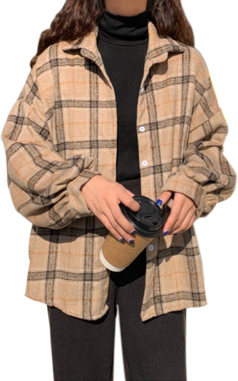 Meladyan Women Casual Plaid Button Down Long Sleeve Shirt Top Loose Collar Oversized Cotton Blouses Shirts Tops