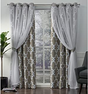 Exclusive Home Curtains Alegra Layered Geometric Blackout and Sheer Window Curtain Panel Pair with Grommet Top, 52x108, Natural, 2 Piece
