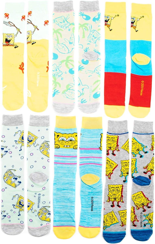Spongebob Squarepants 6 Pair Mens Crew Socks