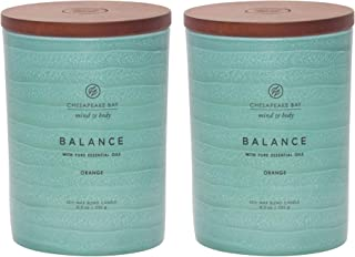 Chesapeake Bay Candle Mind & Body Serenity Scented Candle, Balance with Pure Essential Oils (Orange), Medium, 2 Count
