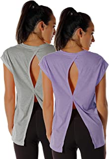 Open Back Workout Top Shirts - Yoga t-Shirts Activewear Exercise Tops for Women(Pack of 2)