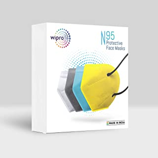 Wipro N95 Face mask 4 pcs (White/Grey/Yellow/Blue)