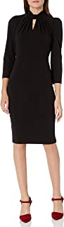 Calvin Klein Women's Three Quarter Sleeved Sheath with Keyhole Neckline