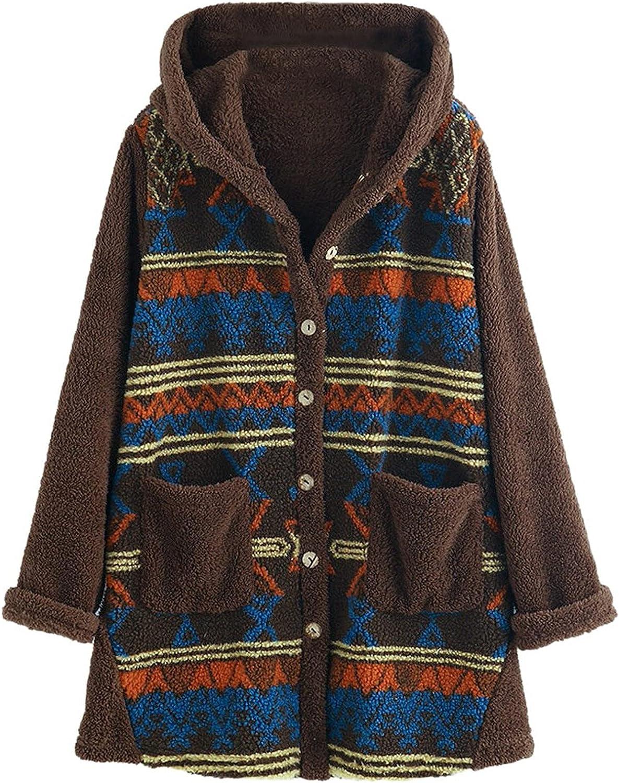 Women Teddy Bear Fleece Coat Fashion Stripe Print Hooded Jacket Oversized Warm Faux Top Winter Button Pocket Cardigan