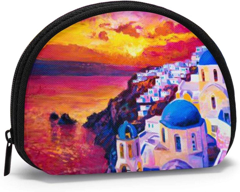 Coin purse mini bag coin purse lipstick bag-Santorini Greece Painting Sunset Art Travel
