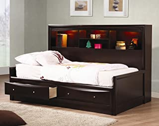 Inland Empire Furniture Full Size Cooper Cappuccino Solid Wood Daybed w/Bookcase and Storage Drawers