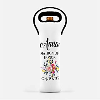 Customized Neoprene Wine Tote - Floral Wine Bag With Name - Personalized Wine Holder - Best Friend Bridesmaid Matron of Honor Gift