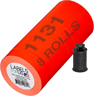 Labels for Monarch 1131 Labeler - Fluorescent Red - 20,000 Labels - Pack with 8 Rolls - Ink Roller Included - Made and Del...