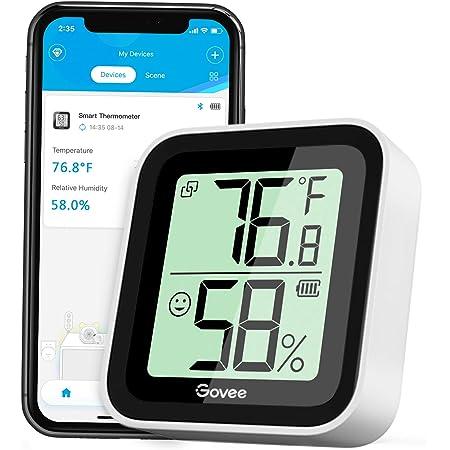 Govee Termómetro Higrómetro, Bluetooth Sensor Interior de Temperatura y Humedad con Alerta & 2s de Actualización, 2 Años Exportación de Datos, Adecuado para Habitación Casa Invernadero Bodega Sótano