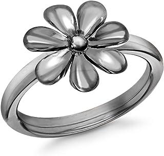 Tuscany Silver 标准纯银黑色镀铑花朵戒指