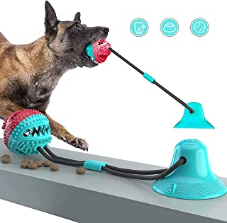 N/F [Latest2020] Dog Chew Toys for Aggressive Chewers- Suction Cup Interactive Ropes Dogs Toy for Pet Teeth Cleaning, Training, Kill Boring Time, Food Dispensing Ball Toys for Small Medium Dogs