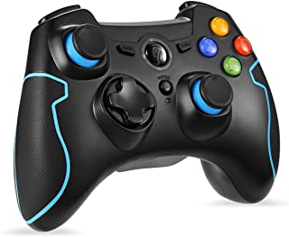 Wireless Controller, EasySMX 2.4 G PC PS3 Gamepads with Vibration Fire Button Range up to 10m Support PC (Windows XP/7/8/8.1/10), PS3, Android, Vista,TV Box Portable Gaming Joystick Handle