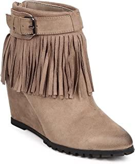 Qupid Women Suede Buckle Fringe Wedge Ankle Bootie DA53 - Taupe