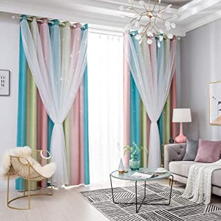 yorten Star Curtains, Stars Blackout Curtains for Kids Girls, Study Bedroom Living Room Colorful Double Layer Star Window ...