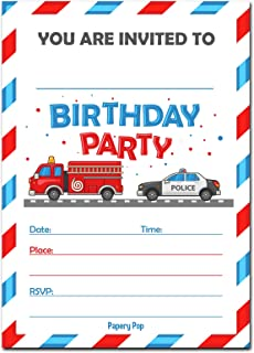 30 Birthday Invitations with Envelopes (30 Pack) - Kids Birthday Party Invitations for Boys or Girls - Firetruck Police Fire Truck Vehicles