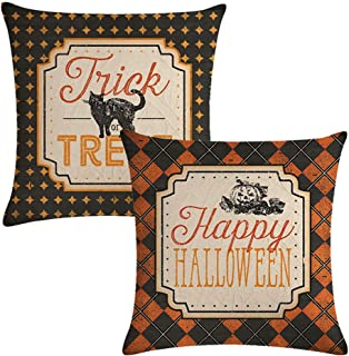 ULOVE LOVE YOURSELF 2Pack Halloween Decor Pillow Covers Black Cat/Pumpkin Pattern Pillow Case with Happy Halloween/Trick or Treat Quote Decorative Pillow Cushion Cover 18 x 18 Inches