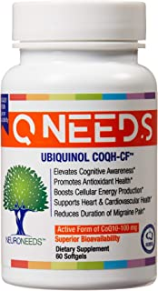 QNeeds® Ubiquinol 100 mg COQ10 Clinically Proven Enhanced Delivery for Maximum Absorption, Enhanced Mitochondrial Support,...