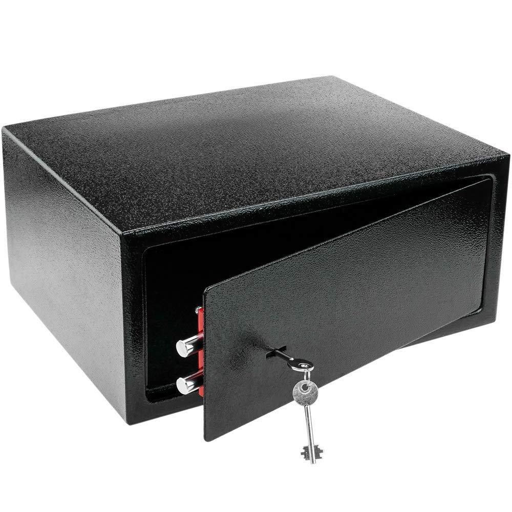PrimeMatik - Caja Fuerte de Seguridad de Acero y con Llaves 43 x 35 x 20 cm Negra: Amazon.es: Electrónica