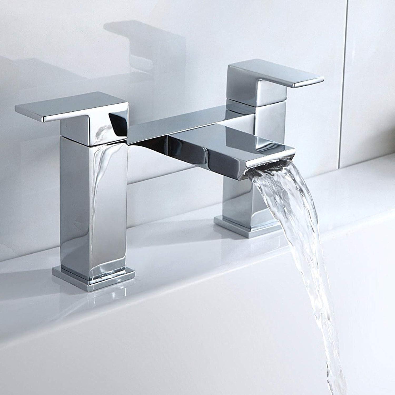 Nes Home   Gemini Waterfall Bathroom Tap Bath Filler Chrome Modern Design Solid Brass
