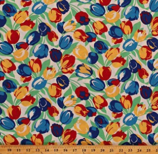 5a1874390a0 Field's Fabrics Knit Tossed Tulips Flowers Dutch Blue Red Yellow Floral on  White 60