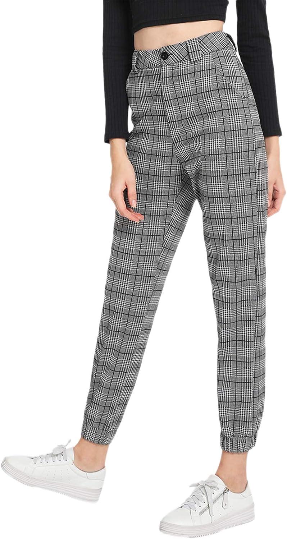 Milumia Women's Casual Mid Waist Plaid Button Pants Trousers