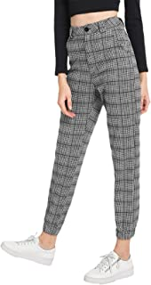 Women's Casual Mid Waist Plaid Zip Side Pants