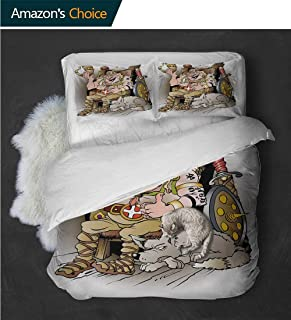 Elegant and Comfortable Norwegian Norway Scandinavian Royal Family with Blue Tooth on Throne Cartoon ImageMulticolor Full Size Quilt -3 Pieces (Includes 1 Quilt- 2 Pillow)
