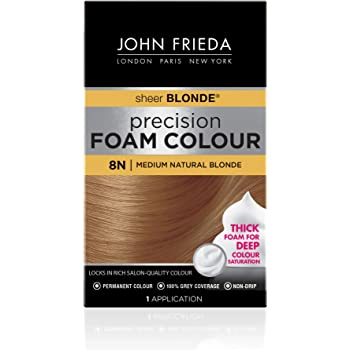 John Frieda Precision Foam Color, Medium Natural Blonde 8N, Full-coverage Hair Color Kit, with Thick Foam for Deep Color Saturation, 4.4 Ounce (16193)