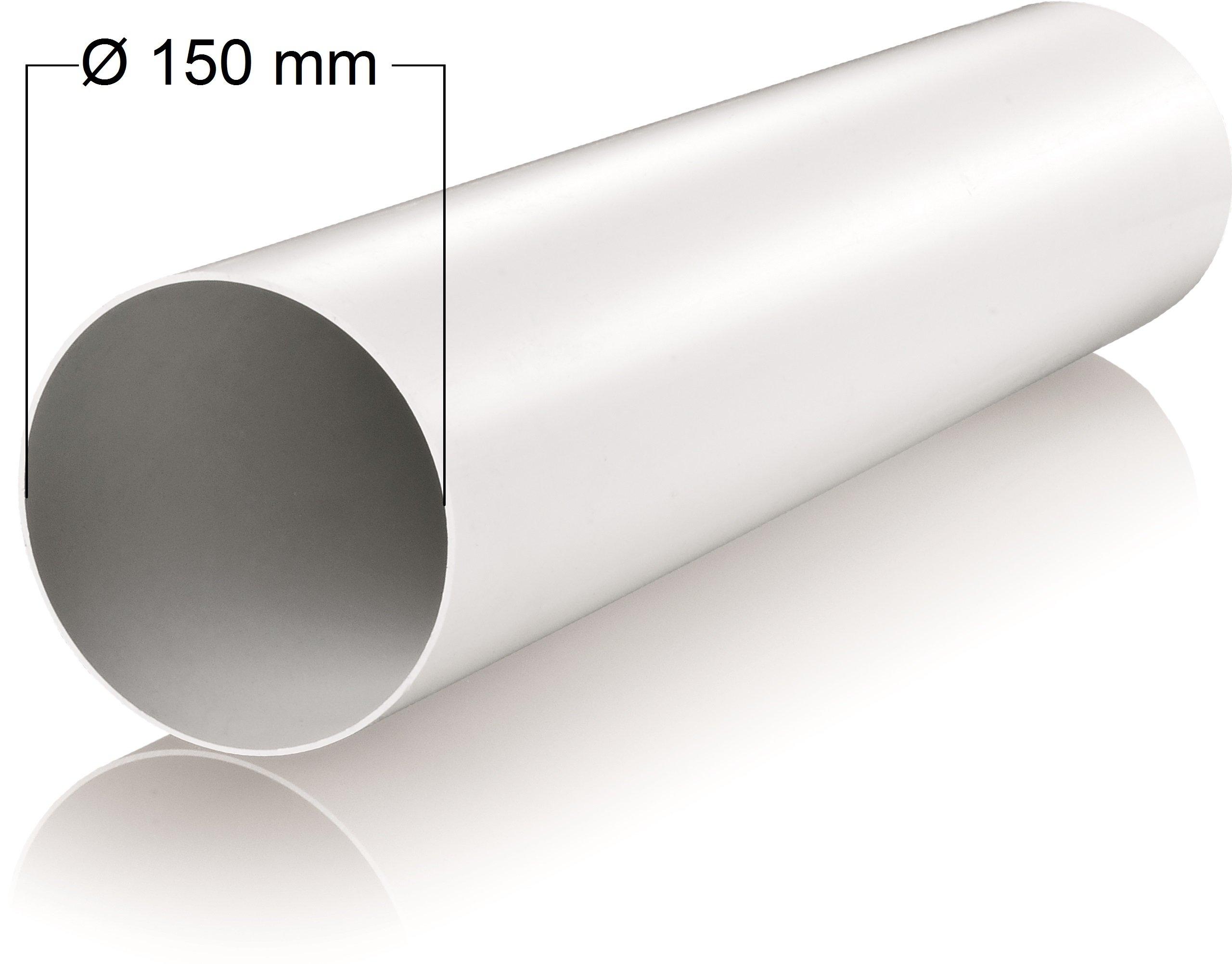 Tubo de ventilación (150 mm de diámetro longitud 1 m metros de tubería de plástico redondo Tubo Redondo Canal Canalizado Canalizado Canal Campana Canal Diámetro de 15 cm y 100 cm de