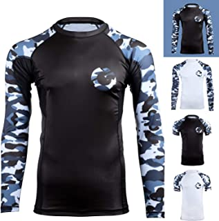 Gold BJJ Jiu Jitsu Rashguard - Camo Long Sleeve Rash Guard Compression Shirt for No-Gi, Gi, MMA